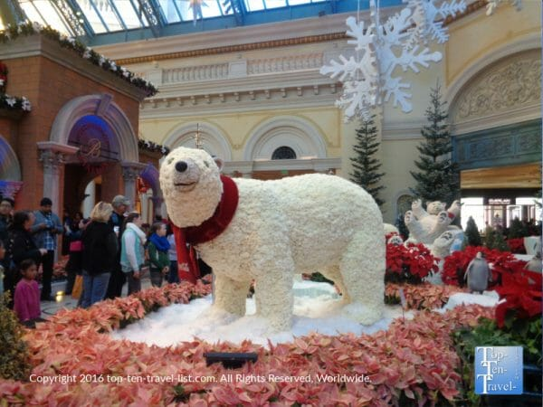Polar bear made of carnations at the Bellagio Conservatory's Christmas display