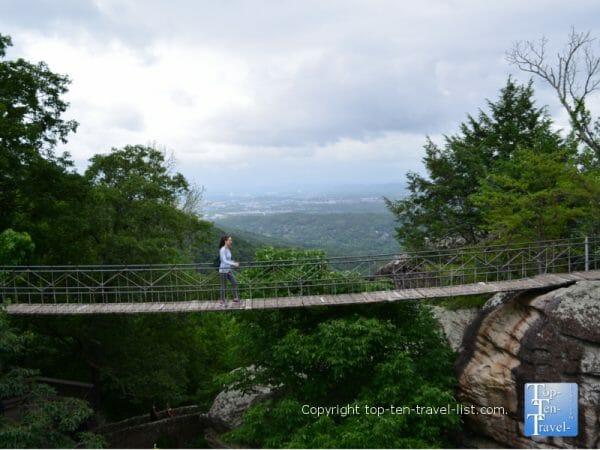 The Swinging Bridge at Rock City atop Lookout Mountain in northwest Georgia