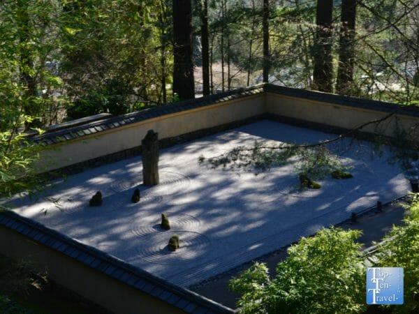 Sand and stone Zen garden at the Portland Japanese Garden