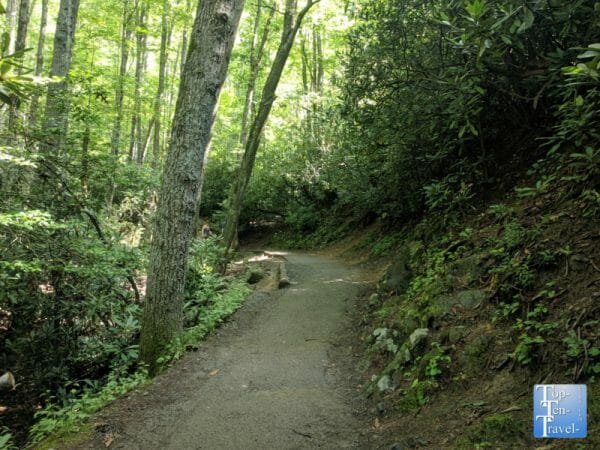 View of the paved Laurel Falls trail in Gatlinburg, Tennessee