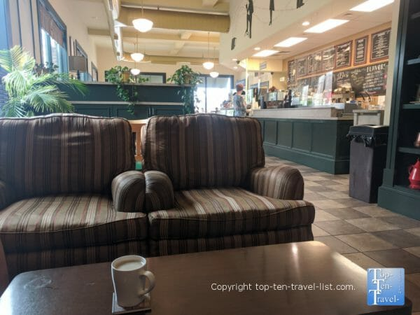 Cozy ambiance at Quotations Coffee Cafe in downtown Brevard, NC