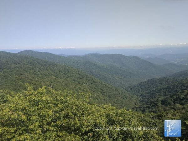 The gorgeous Craggy Gardens overlook along the Blue Ridge Parkway in North Carolina
