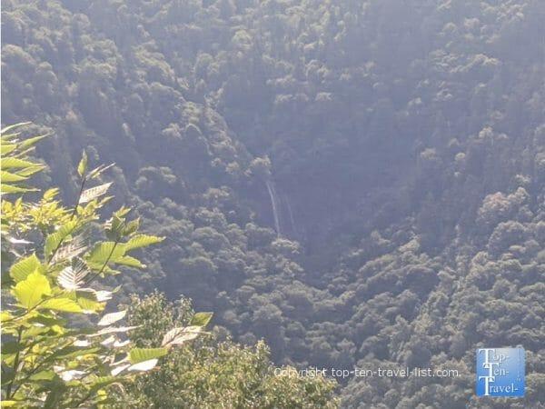 Glassmine Falls overlook along the Blue Ridge Parkway in Western North Carolina