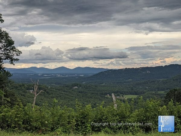 Amazing mountain scenery at the Chestnut Cove overlook along the Blue Ridge Parkway in Western North Carolina