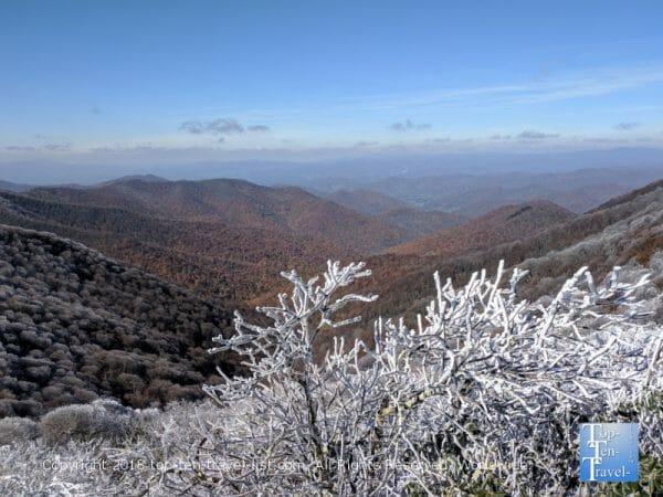 Icy winter views at Craggy Gardens along the Blue Ridge Parkway in North Carolina