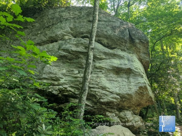 Large rock outcropping along the Moore Cove Falls trail in Transylvania County, North Carolina