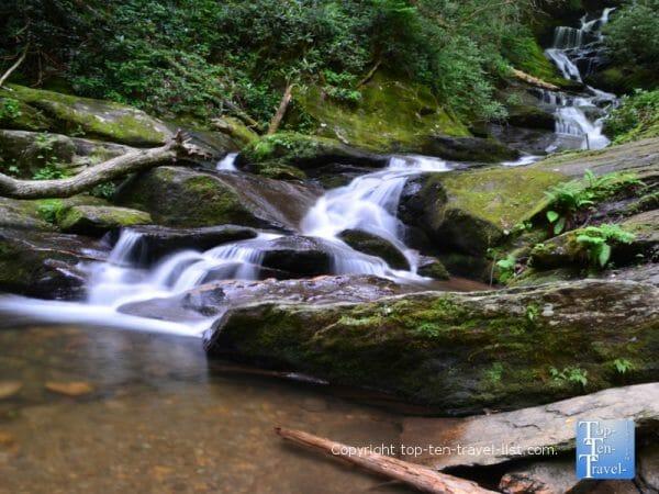 View of Lower Roaring Fork Falls in Burnsville, North Carolina