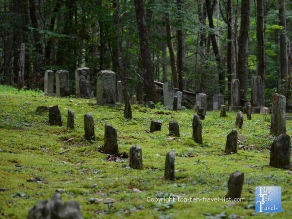 Old cemetery along the Baskins Creek trail in Gatlinburg, TN