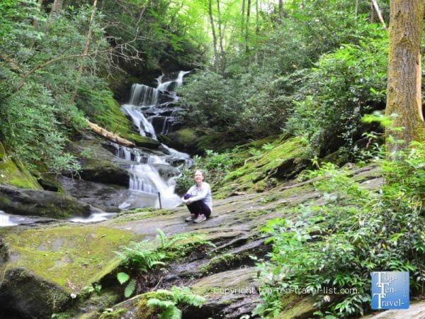 Photo opp at Roaring Fork Falls in Burnsville, North Carolina