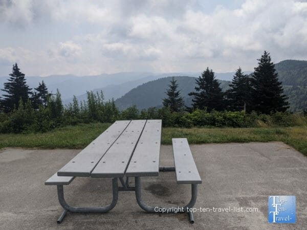 Scenic picnic area at the Haywood Jackson overlook along the Blue Ridge Parkway in Western North Carolina