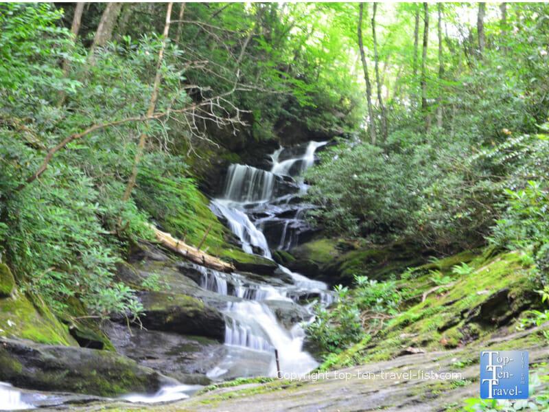 Beautiful Roaring Fork Falls waterfall in Burnsville, North Carolina