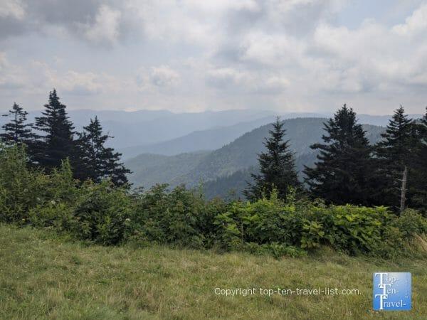 Beautiful mountain scenery at the Haywood Jackson overlook along the Blue Ridge Parkway in North Carolina