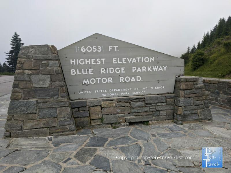 Richard Balsam overlook in Western North Carolina - the highest elevation on the Blue Ridge Parkway
