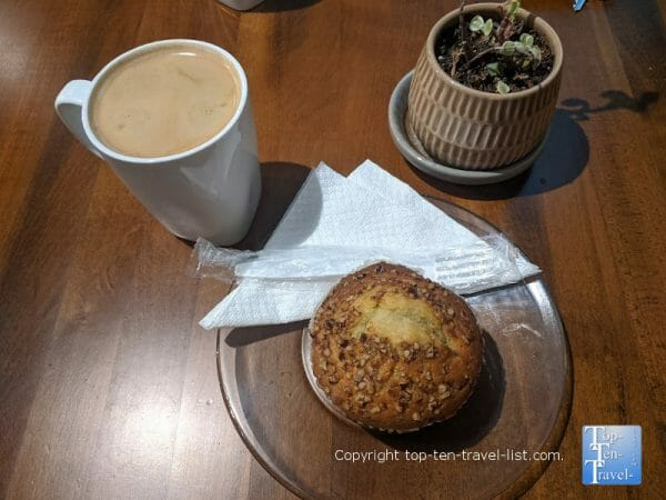 Banana nut muffin and Americano at Sweeten Creek Coffee in Asheville, North Carolina