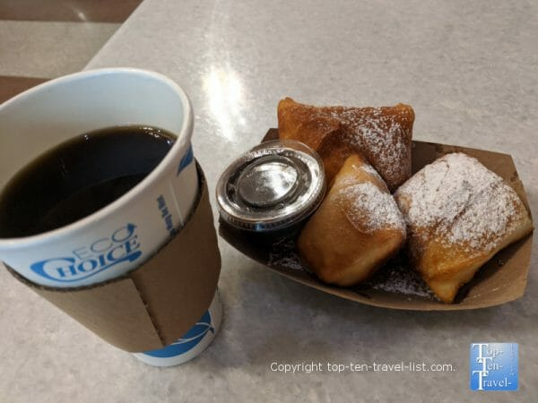 House coffee and beignets with chocolate dipping sauce at Bebette's Coffeehouse in Asheville, North Carolina