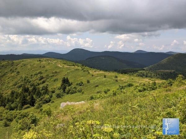 Wide open mountain vistas on the Black Balsam Knob trail in Western North Carolina