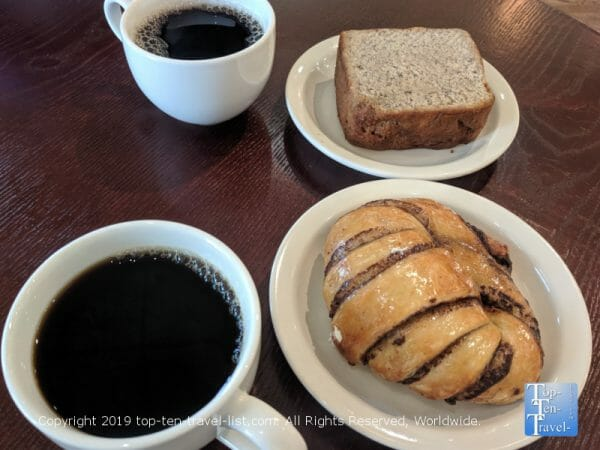 Chocolate croissant and banana bread at Old Europe pastries