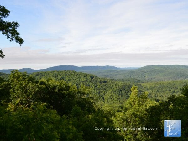 Gorgeous mountain views at Jump Off Rock in Hendersonville, North Carolina