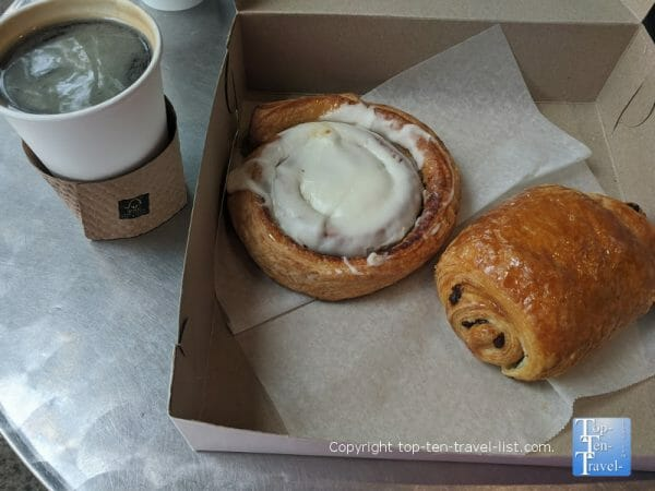 Cinnamon roll and chocolate croissant at City Bakery in Asheville, North Carolina