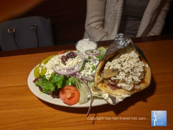 Veggie pita and Greek salad at Apollo Flame Bistro in Asheville, North Carolina