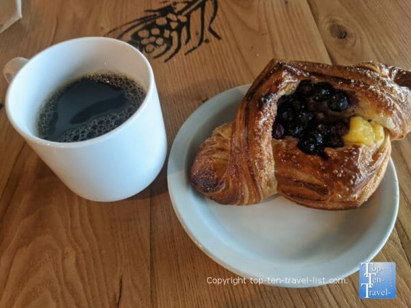 Blackberry Danish and house coffee at All Day Darling in Asheville, North Carolina