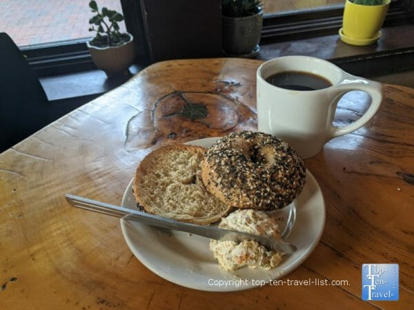 Everything bagel with veggie cream cheese and an Americano at High Five Coffee in Asheville, NC