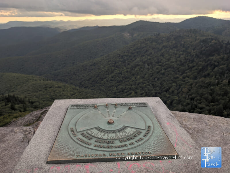 Devil's Courthouse marker on the Blue Ridge Parkway in North Carolina