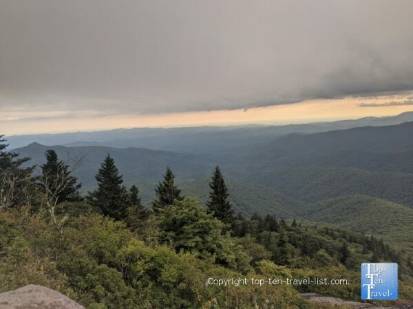 Picturesque mountain views from the Devil's Courthouse summit on the Blue Ridge Parkway in North Carolina