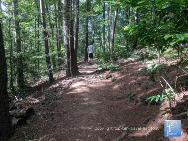 Hiking the Carolina Mountain trail at the North Carolina Arboretum in Asheville, North Carolina