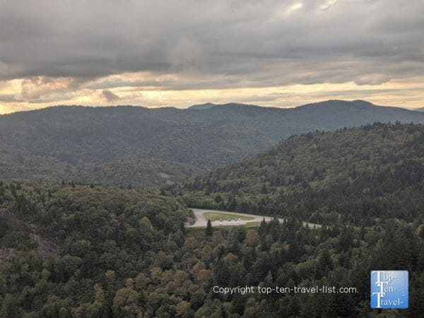 Scenic mountain vistas from the Devil's Courthouse summit on the Blue Ridge Parkway in North Carolina