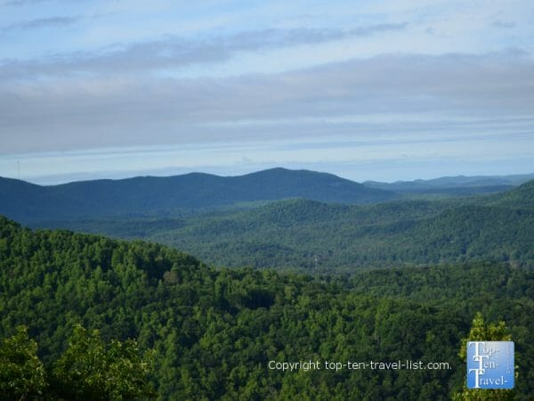 Scenic views of the Blue Ridge mountains at Jump Off Rock in Hendersonville, North Carolina