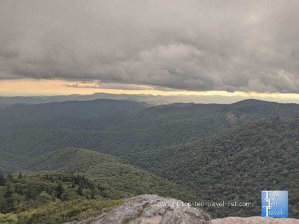 Amazing view of the Blue Ridge mountains from the Devil's Courthouse summit on the Blue Ridge Parkway in North Carolina