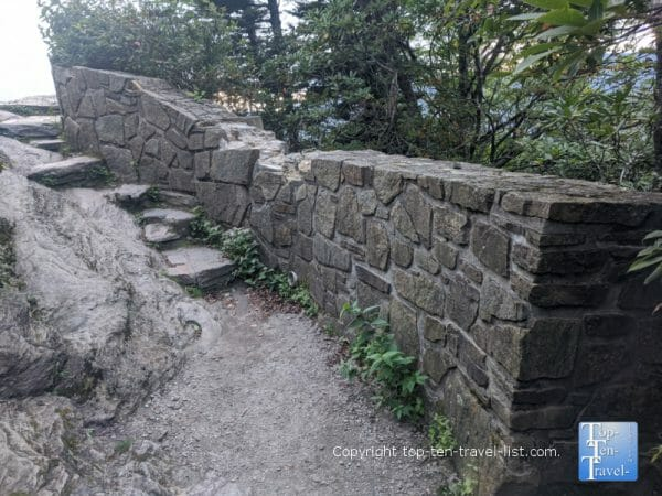 Stone steps to the observing area on the Devil's Courthouse trail on the Blue Ridge Parkway in North Carolina