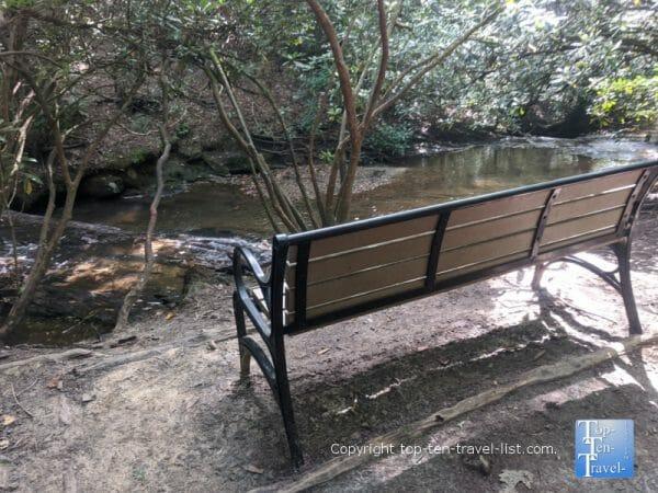 View of Bent Creek via the Carolina Mountain trail at the North Carolina Arboretum in Asheville, NC