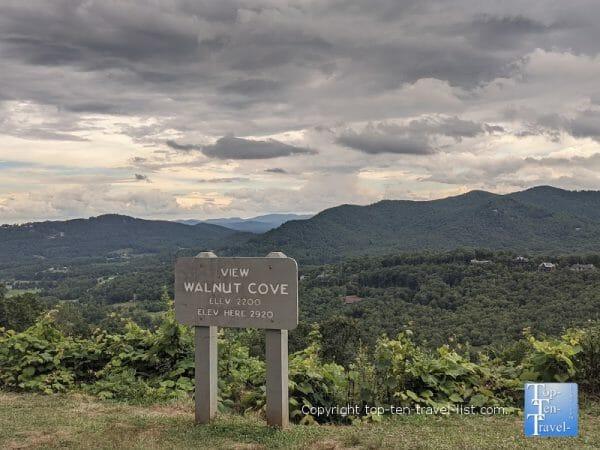 Walnut Cove overlook along the Blue Ridge Parkway in North Carolina