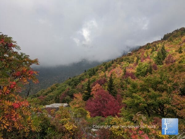 The peak of fall along the Rough Ridge trail on the Blue Ridge Parkway in Western North Carolina