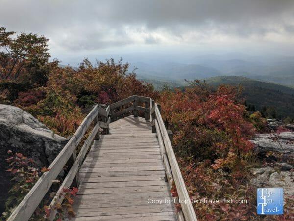 The boardwalk along the Rough Ridge trail on the Blue Ridge Parkway in Western North Carolina