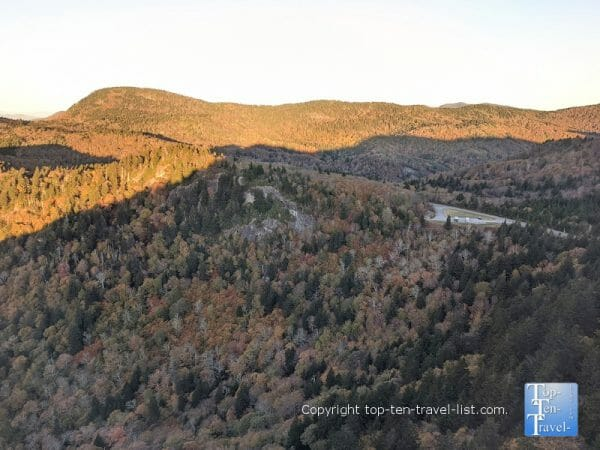 Fall foliage from the Devil's Courthouse overlook on the Blue Ridge Parkway in Western North Carolina