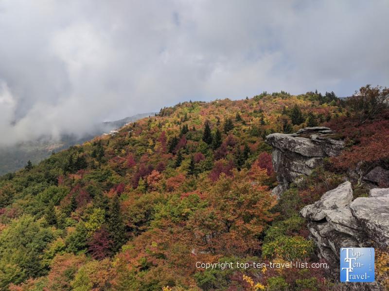 Beautiful fall foliage along the Rough Ridge hike on the Blue Ridge Parkway in Western North Carolina