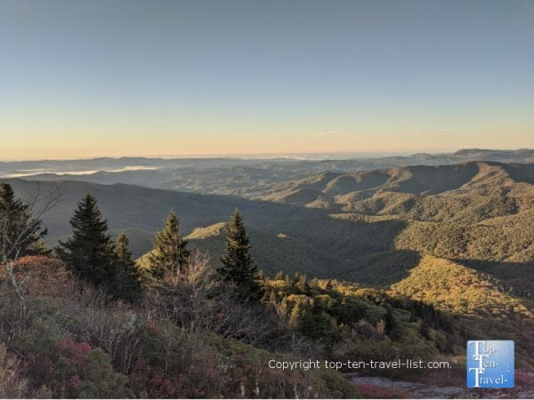 Amazing sunset via the Devil's Courthouse hike along the Blue Ridge Parkway in Western North Carolina