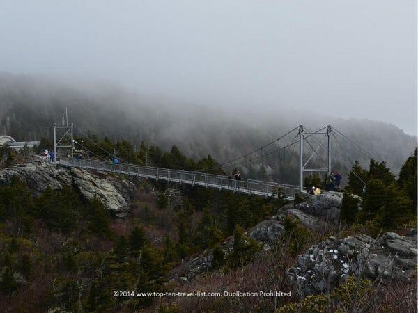 The Mile High Swinging Bridge at Grandfather Mountain in Western North Carolina