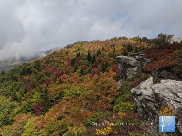 Amazing fall color on the Rough Ridge trail on the Blue Ridge Parkway in North Carolina