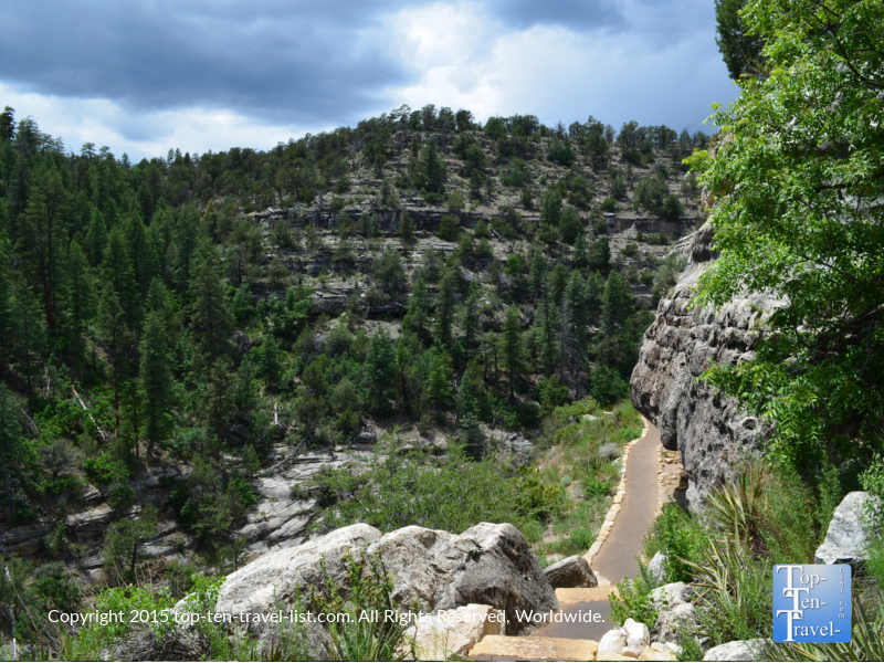 Climb the 240 step Island Trail and explore ancient ruins at Walnut Canyon National Monument
