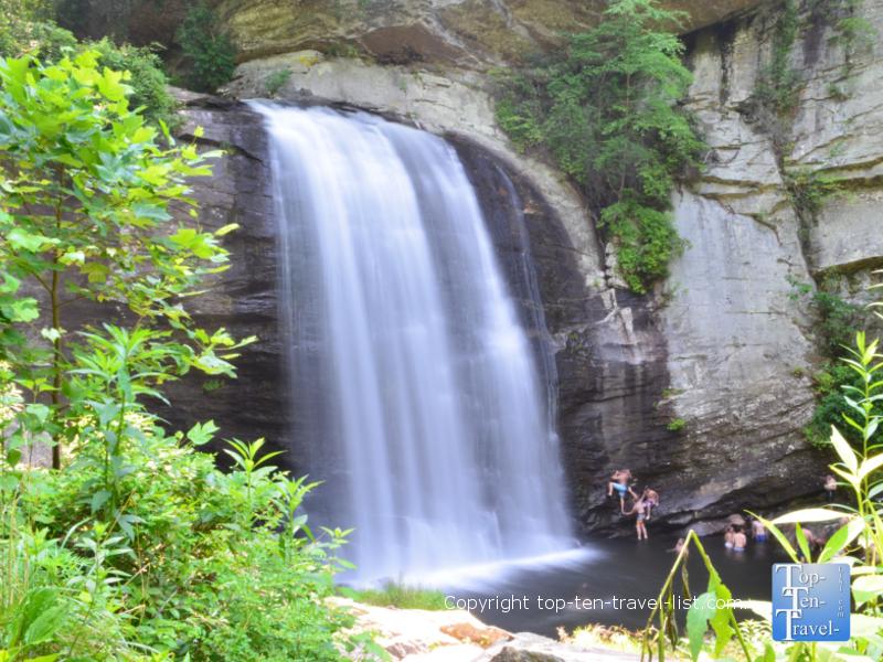 View a roadside waterfall